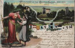 Centenarfeier Des Kanton Aargau 1803-1903 - Trachten Und Helvetia - Schloss Stein, Habsburg, Laufenburg - Litho - AG Argovie