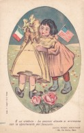 Red Cross US Italy Friendship With America, Two Girls Embrace, Flags, C1900s/10s Vintage Postcard - Red Cross