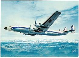 CPSM FRANCE THEMES TRANSPORTS AERONAUTIQUE - Super Starliner D'Air France Survolant Les Alpes - 1946-....: Ere Moderne