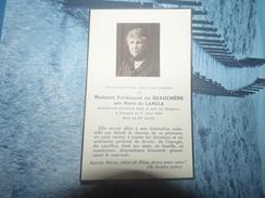 Faire Part De Décès De Madame Ferdinand De BEAUCHENE Née Marie De LANGLE - Obituary Notices