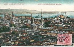 Turquie  Salut De  Constantinople  Vue Panoramique  ,DES BAZARS , ( 1 Pli ) - Turkey