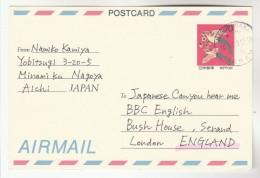1993 Nagoyanaka JAPAN Postal STATIONERY CARD  BIRD Stamps To GB Birds Cover - Postal Stationery