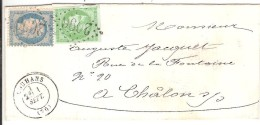 LOUHANS  (70)_Affranchissement De Septembre Composé Dont Timbre Yv N°42B Oblitéré T17 + GC 2096 - Marcophilie (Lettres)