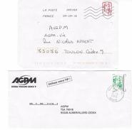 Timbre De Roulette Autocollant LP: Marianne De Ciappa Sur Lettre + Timbre De Carnet LV - Marcophilie (Lettres)