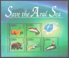 Kazakhstan 1996 Kasachstan Mi Block 4(118-122) Save Fauna Aral Sea: Caracal. Hyena. Trout. Fishes **/MNH - Kasachstan