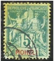 FAUX FOURNIER FRENCH MOHELI FRANCAISES FRANCESE 1906 1907 PAIX NAVIGATION AND COMMERCE CENT. 5 5c USED USATO OBLITERE´ - Moheli (1906-1912)