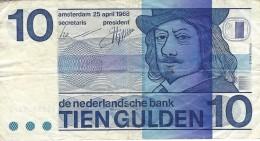 NETHERLANDS 10 GULDEN 1968 P-91b F/VF PLAIN BULLSEYE [ NL091b ] - [2] 1815-… : Kingdom Of The Netherlands