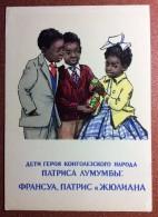 USSR Russian Postcard 1961 Soviet Propaganda Worldwide Friendship. Africa. Children Congo Patrice Lumumba Matrioshka - Congo - Brazzaville