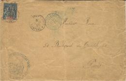 1895- Enveloppe De Saint-Louis Affr. 15 C Sénégal & Dépendances + Cad Bleu CORR. D'ARM./ LIGNE J PAQ. N°3 - Brieven En Documenten