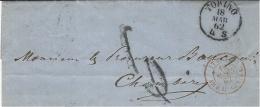 1862- Lettre En Port Du De TORINO Pour Chambéry - Taxe 6 D. Sarde Entrée AMB. M  Cenis C - 1861-78 Victor Emmanuel II