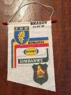 Pennant - Fanion Romania RUGBY ROMANIA Vs ZIMBABWE 1989 BRASOV - Apparel, Souvenirs & Other