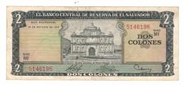 El Salvador 2 Colones 1974 , VF+.  Free Ship. To USA. - El Salvador