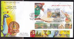 INDIA, 2016, FDC, Independence Day, Tourism, Dance, Taj Mahal, Qutub Minar, Fauna, Tiger, Camel, MS, Jabalpur Cancelled - FDC
