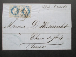Österreich Levante 1870 Nr. 4I Waagerechtes Paar! Beleg Von Constantinopel In Die Schweiz. Via Trieste. Toller Beleg!! - Levante-Marken