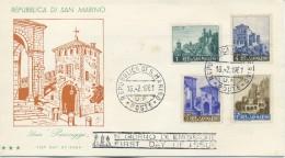 SAN MARINO - FDC TRE STELLE 1961 - VEDUTE - PAESAGGI - VIAGGIATA - FDC