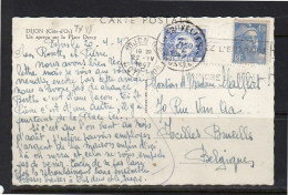 1947 Dijon Postage Due 3,50 Fr > Bruxelles (fr138) - Postage Due