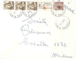 RACCOMANDATA ANNULLO MARINA DI ANDORA SAVONA - 6. 1946-.. Repubblica