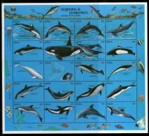 Palau 1991 Dolphins Fish Marine Life Animals Sheetlet Of 20 Sc 289 MNH # 15109B - Dolphins
