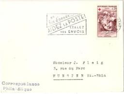 C-R-L19 - FRANCE Paire Croix-Rouge 1962 Sur Carte Et Lettre Pour Munster - Croix-Rouge