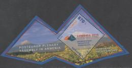 ARMENIA, 2016, MNH,POSTEUROP PLENARY ASSEMBLY IN ARMENIA, MOUNTAINS, FLOWERS, SHAPED  S/SHEET - Géologie