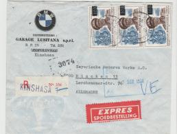 BG051 / Express-Einschreiben Mit BMW Symbol.Firmenbrief 1958 An Das Stammwerk München - Dem. Republik Kongo (1964-71)