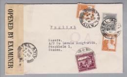 Palästina 1944-11-27 Tel Aviv Zensur O.A.T. Luftpostbrief Nach Stockholm - Palestine