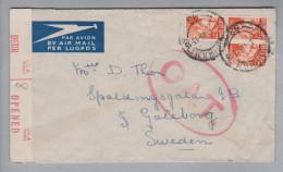 Südafrika 1945-01-09 Durban Zensur O.A.T. Brief Nach Göteborg Schweden - Autres