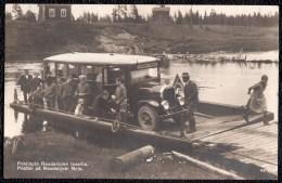 PHOTOCARD  1934 FINLAND *** POSTIAUTO RAUDANJOEN LOSSILLA - POSTBIL PA RAUDANJOKI FÄRJA *** Poste - Facteur - Postman - Finlandia