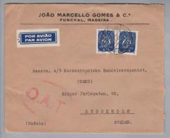 Portugal 1945-09-21 Funchal Madeira O.A.T. Luftpostbrief Nach Stockholm - 1910-... République