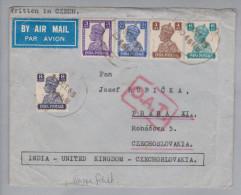 Indien 1945-10-21 O.A.T. Luftpostbrief Nach Prag Tschechien (Rückklappe Fehlt) - Inde