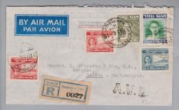 Thailand 1951-03-03 Bangkok R-A.V.2 Luftpostbrief Nach Vernier Genf Schweiz - Thaïlande
