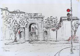 Dessin Original à La Plume Sur Papier Canson De J. Capoccia - Montélimar, Porte Saint Martin - Autres Collections