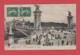 ET/71 PARIS  PONT ALEXANDRE 3 LL 303 écrite Timbre  RECTO VERSO - Bridges