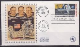 = Etats Unis Enveloppe 1er Jour Le 1er Homme Sur La Lune Washington 9.9.69 Moon Landing 20.7.69 Armstrong Collins Aldrin - Premiers Jours (FDC)