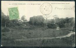 GUINÉE FRANCAISE - N° 21 / CPA LE MARIGOT DE COYAH , OBL. PHARMORÉA LE 7/3/1911 , POUR PARIS - TB