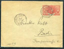 GUINÉE FRANCAISE -ENV. EP 10 C. ROUGE, 125 X 94 , OBL. CONAKRY LE 2/9/1908 , POUR L´ALLEMAGNE - TB