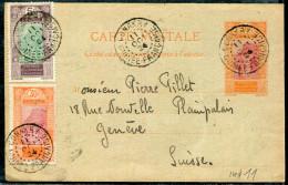 GUINÉE FRANCAISE - CP. EP 10 C. ROUGE-ORANGE & CARMIN TYPE N° 67 + N° 84 & 90 , DE CONAKRY LE 11/10/1924, POUR LA SUISSE