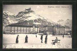 AK Engelberg, Eisfeld, Skating-rink, Schlittschuhläufer Vor Dem Grand Hotel - Pattinaggio Artistico