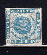 Denmark MH Scott #3 2s Royal Emblems, Blue - 1851-63 (Frederik VII)