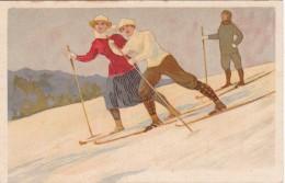 CPA   Publicité Conserves LENZBURG     SKIEURS    1920/30 - Publicité