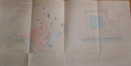 ASCOLI PICENO 1910 MAPPA FATTA E COLORATA A MANO DI PRESA D'ACQUA TORRENTE CASTELLANO FIUME TRONTO 70x35 - Carte Topografiche