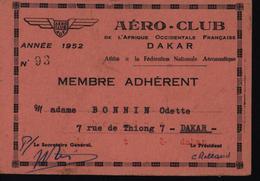 Sénégal Dakar Aéroclub Carte De Membre Avion Aviation AOF Afrique Occidentale Française - Other