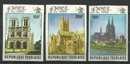 "Togo Aerien YT 436 à 438 (PA 436 à 438) ND "" Noël : Cathédrales "" 1980 Neuf ** - Togo (1960-...)"