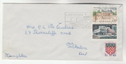 1966 FRANCE COVER Stamps YOUTH CULTURE, CASTLE, ARMS To GB - Covers & Documents