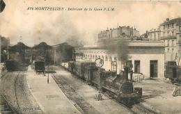 MONTPELLIER INTERIEUR DE LA GARE P.L.M.  AVEC CACHET AU VERSO 1ER REGIMENT DU GENIE - Montpellier