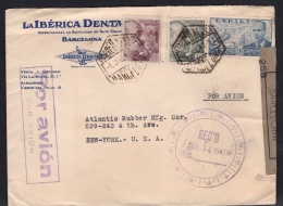España 1941. Correo Aéreo De Barcelona A New York. Censura. - Marcas De Censura Nacional