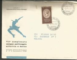 RIF39---  ITALIA REPUBBLICA,  ANNULLI FILATELICI,   VII,  CAMP.  EUROPEO  PATTINAGGIO ARTISTICO,   1957, - Pattinaggio Artistico