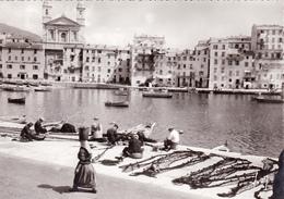 CPSM Dentelée Animée (20) (2B) BASTIA Vieux Port Et Eglise St Jean Pêcheurs Réparant Les Filets - Bastia