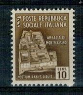 RSI 1944 MONUMENTI DISTRUTTI  10 Cent. ** MNH - 4. 1944-45 Repubblica Sociale