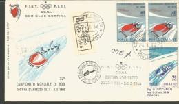 RIF46---  ITALIA REPUBBLICA,  ANNULLI FILATELICI,   MONDIALE DI BOB, CORTINA,  RACCOMANDATA,  1966, - Inverno